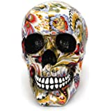 Tvoip Creative Colorful Pattern Skull Ornaments Resin Halloween Horror Modern Skull Statue Personality Home Decoration