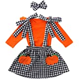 Toddler Girls Outfits 2pcs Baby Girl Halloween Clothes Set Girl Floral Pumpkin Skirt Outfits
