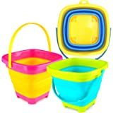 3 otters 3PCS Foldable Bucket, Foldable Pail Bucket Sand Buckets Silicone Collapsible Bucket, for Kids Beach Play Camping Gea