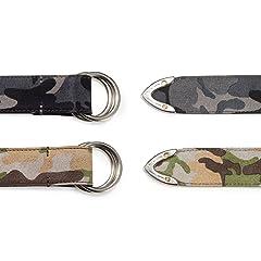 Camouflage D-Ring Belt: Black, Beige