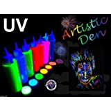 Uv Neon Glow Blacklight Face And Body Paint - Set Of 7 x 250ml Bottles