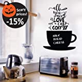 Chalkboard Coffee Wall Decals Quotes for Kitchen - Perfect Blackboard Coffee Lovers Gift Stickers - Best Fridge Cup Vinyl Art
