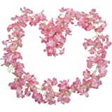2 Pack Artificial Cherry Blossom Home Festival Party Yard Fence Decoration Silk Flower Garlands Simulation Fake Hanging Sakur