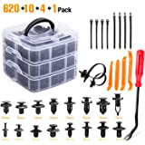 GOOACC GRC-86 635Pcs Car Push Retainer Clips & Auto Assortment-16 Most Popular Sizes Nylon Bumper Fender Rivets with 10 Cable