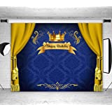 LB Royal Princess Kids Party Banner Background Gold and Blue Birthday Party Decorations Backdrop Vinyl Seamless Washable Port