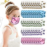 50PC Cartoon Disposable 3Ply Printed Face_Masks for Kids, Printed with Colorful Butterfly, UFO, Chrismas,Flower.etc