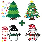 CDLong DIY Felt Christmas Tree & Snowman Set - 2 Pack Xmas Gifts for Kids - Wall Hanging Detachable Felt Christmas Tree for T