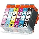 BCI-7e(BK/C/M/Y/PC/PM)6色セット CANON(キャノン) 新互換インクカートリッジタイプ 最新型ICチップ対応 残量表示あり 取扱説明書付き【三大保証1年パック対応】【Mint製】