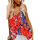 FZ FANTASTIC ZONE Women's V Neck Button Strappy Tank Tops Loose Casual Sleeveless Shirt Blouse