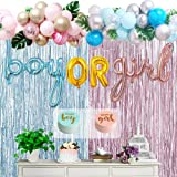 Boy Or Girl Gender Reveal Party Supplies Kit, 124 Pcs Gender Reveal Ideas Decorations Favors Includes Foil Balloons, Tinsel C