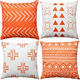 WLNUI Orange Boho Modern Pillow Covers 16x16 Inch Set of 4 Square Farmhouse Throw Pillow Covers Geometric Mudcloth Linen Neut
