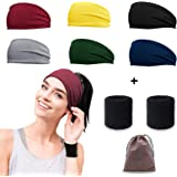 Koccido Women's Headbands,Headbands for Women,Yoga Workout Exercise Headband Sweat Wicking Hair Bands Fit All Head Sizes for