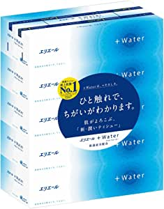 エリエール ティッシュ プラスウォーター(+Water) 180組×5箱 パルプ100%