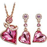 QIANSE Rose Lover Rose Gold Plated Jewelry Set Made with Swarovski Crystals, Gift Packing Jewelry - Gift of Love, Ideal Gifts