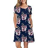 HODEYS Women's Summer Casual T-Shirt Dresses Short Sleeve Swing Dress Pockets
