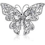 Large Clear Multi Color Crystal Filigree Fashion Statement Scarf Butterfly Brooch Pin for Women Gold Sliver Plated