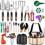 FUMONCHY Garden Tools, 52Pcs Gardening Tools with Succulent Tools Set, Aluminum Garden Hand Tool Set with Knee Pads Garden To