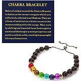 Believe London® Chakra Bracelet Adjustable Bracelet to Fit Any Wrist | 7 Chakra Natural Stone | Healing Reiki Yoga