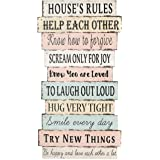 Colorful Large Rustic Farmhouse Wall Home Decor Sign,(House Rules,Help Each Other)Hanging Wood Wall Decoration 24x 12.6Inches