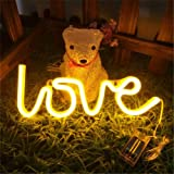 MorTime Love Neon Signs, LED Neon Light for Party Supplies, Girls Room Decoration Accessory, Table Decoration, Children Kids