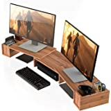 WELL WENG Large 3 Shelf Monitor Stand Riser with Adjustable Length Angle Storage Organizer,Bamboo