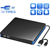 BlueFire External CD DVD Drive, Slim USB C Laptop Drive Portable External Disc Drive, High Speed Data Transfer USB 3.0 Type-C