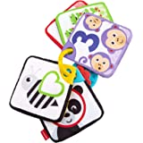 フィッシャープライス 布おもちゃシリーズ ラーニングふかふかカード 0カ月~【感覚を育てる】赤ちゃん 幼児 布のおもちゃ 指遊び ベビーカー用おもちゃ FXB92