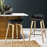 Bar Stools, Artiss 2 Pcs Wooden PP Plastic Kitchen Bar Chairs Black