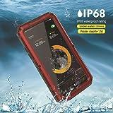 KINDAGO【正規品】iPhone7 plus/iPhone8 plus 防水ケース 防水等級IP68 完全防水 水中撮影 多機能スマホケース 防水、防埃、防塵、耐衝撃カバー ストラップ付き 敏感なタッチ 指紋認識可 耐久性が優れるアイフォンケース フルプロテクションカバー (iPhone7/8 plus 5.5インチ, レッド)