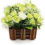 BEADY ミニダイヤーバラ 人工観葉植物 造花 光触媒 フェイクグリーン インテリア ギフト お祝い (花柵(木), グリーン&ホワイト)