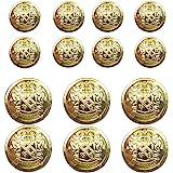 14 Piece Metal Blazer Button Set - for Blazer, Suits, Sport Coat, Uniform, Jacket (Gold)15mm 20mm
