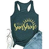 Hello Sunshine Shirt Tank Tops for Women Summer Sleeveless Graphic Print T Shirt Nature Shirt Vacation Shirt