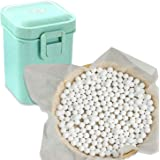 2.2Lb Ceramic Pie Weights Baking Beans Pie Crust Reusable 10mm Weights Natural Ceramic Stoneware with Wheat Straw Container (