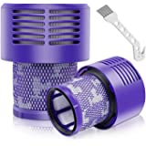 (2 Pcs+1 brush) Auloo Filter for Dyson V10 Series Vacuum Replacement, Replace Dyson Part No. 969082-01 Filter,Compatible with