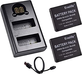 Enelife<Lumix(ルミックス)DMW-BLE9 / BLG10 互換バッテリー>【日本メーカーによる保証とサポート】7.2V 実容量900mAh 電池残量表示&純正充電器での充電対応【正規PSEマーク 5億円の製造物責任保険付保】(バッテリー2個+USBダブルチャージャー)
