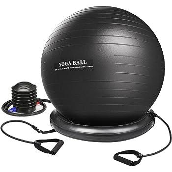 Setom バランスボール ヨガボールセット フィットネスボール 75cm PVC アンチバースト ポンプ、トレーニングチューブ付 ジム/ホーム/オフィスなどに適用