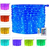 Ollny LED Rope Lights 33ft 16 Colors Changing Outdoor 100 LEDs 4 Modes USB Powered Rope Tube Lights with Remote Timer for Wed