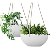 LA JOLIE MUSE White Hanging Planter Basket - 8 Inch Indoor Outdoor Flower Pots, Plant Containers with Drainage Hole, Plant Po