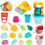 Beach Toys Sand Toys Set for Kids, 24pcs Sand Castle Toys for Beach with Waterwheel, Bucket, Shovel, Watering Can and Sand Mo