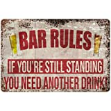 Original Vintage Design Bar Rules Tin Metal Wall Art Signs, Thick Tinplate Print Poster Wall Decoration for Bar (Beer Rules,