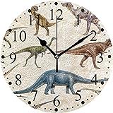 恐竜 パターン 掛け時計 置き時計 おしゃれ 北欧 油絵の効果 壁掛け 連続秒針 リビング 部屋装飾 贈り物