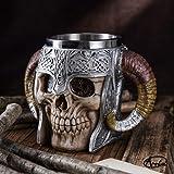 Stainless Steel Double Handle Horn Skull Beer Cup, Viking Warrior Skull Mug Tankard, Medieval Skull Drinkware Mug for Coffee/