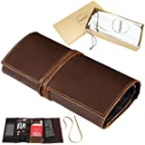 Genuine Crazy Horse Leather Electronics Organizer Roll Bag Travel Pouch for USB Cable, SD Card, Charger, Earphone, Passport,