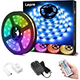 Lepro LEDテープライト RGB ledテープライト 5m 屋内用 明るさ調節 鮮やか 20色タイプ 44キーリモコン 調光調色 カラーDIY SMD5050 超高輝度 間接照明 両面テープ 切断可能 取付簡単 店舗 看板 ゲーム室 ホーム 装