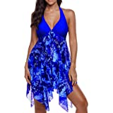 Cinyifan Womens Blue Stripe Plus Size Tankini Swimsuit Swim Dress Bathing Suit