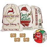 "KEFAN 3 Pack Christmas Bag Santa Sack Canvas Bag for Gifts Santa Sack with Drawstrings Extra Large Size 27.5""x19.5"" (Pattern"