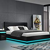 Artiss King Bed Frame LED Leather Gas Lift Bed Base - Black