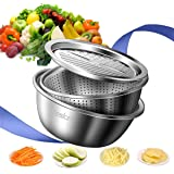 Jeslon 11 Inch Stainless Steel Drain Basket Vegetable Cutter, 3 in 1 Kitchen Multipurpose Julienne Grater - Salad Maker Bowl