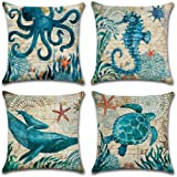 4-Pack Decorative Throw Pillow Cover 18x18 Mediterranean Ocean Park Theme Pillow Cushion Cases for Couch Sofa Bed (W/O Insert