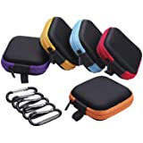 Sunmns 5 Pieces in Ear Bud Earphone Headset Headphone Case Mini Storage Carrying Pouch Bag with Carabiners